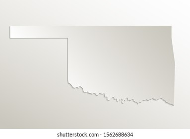 Map of Oklahoma on natural paper, state of the United States of America, 3D design raster