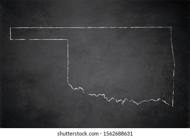 Map of Oklahoma, state of the United States of America, raster blank design card blackboard chalkboard