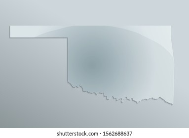 Map of Oklahoma, state of the United States of America, raster blank template design glass card 3D