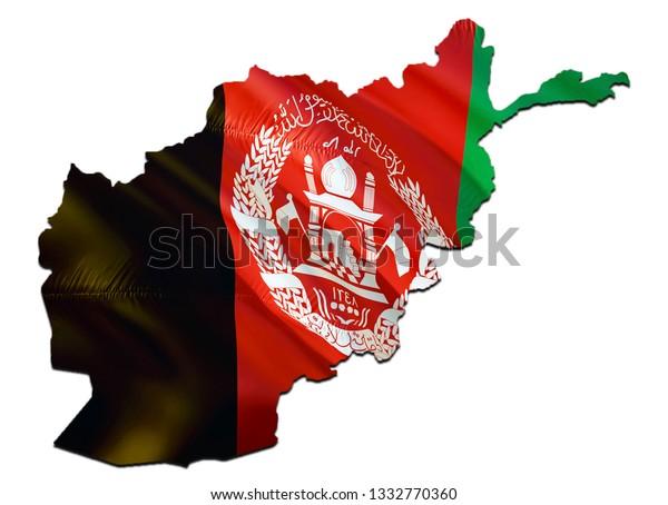 Map On Afghanistan Waving Flag 3d Stock Illustration 1332770360