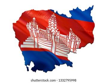 Map on Cambodia waving Flag. 3D rendering Cambodia map and waving flag on Asia map. The national symbol of Cambodia. Cambodia flag on Asia background. National Phnom Penh flag