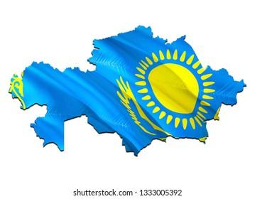 Map on Kazakhstan waving Flag. 3D rendering Kazakhstan map and waving flag on Asia map. The national symbol of Kazakhstan. Kazakhstan flag on Asia background. National Astana flag