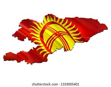 Map on Kyrgyzstan waving Flag. 3D rendering Kyrgyzstan map and waving flag on Asia map. The national symbol of Kyrgyzstan. Kyrgyzstan flag on Asia background. National  Bishkek flag