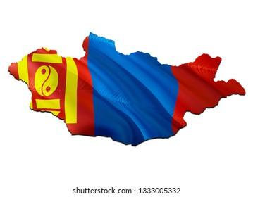 Map on Mongolia waving Flag. 3D rendering Mongolia map and waving flag on Asia map. The national symbol of Mongolia. Mongolia flag on Asia background. National Ulaanbaatar flag