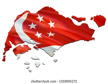 Map on Singapore waving Flag. 3D rendering Singapore map and waving flag on Asia map. The national symbol of Singapore. Singapore flag on Asia background. National Singaporeans flag