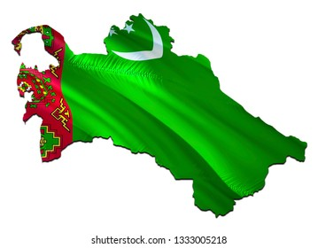 Map on Turkmenistan waving Flag. 3D rendering Turkmenistan map and waving flag on Asia map. The national symbol of Turkmenistan. Turkmenistan flag on Asia background. National Ashgabat flag