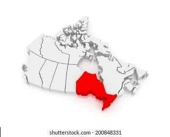 Map of Ontario. Canada. 3d