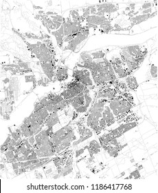 Map of Ottawa, satellite view, black and white map. Street directory and city map. Canada