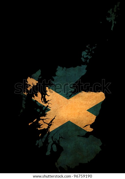 Map outline of Scotland with flag insert grunge effect