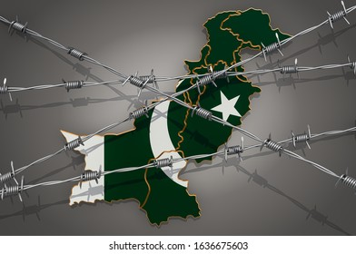 Map of Pakistan with barbed wire, 3D rendering on grey background