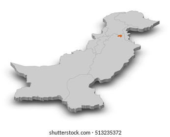 Map - Pakistan, Islamabad - 3D-Illustration