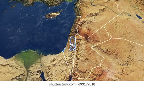 Map Of PALESTINE Elements of this image furnished by NASA 3D rendering 3D illustration