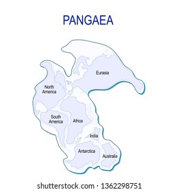 Map of Pangaea with modern continental borders. Continental drift on the planet Earth. millions years ago. illustration for educational and science use