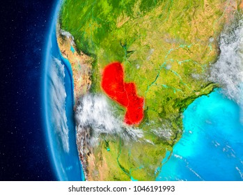 Map of Paraguay as seen from space on planet Earth with clouds and atmosphere. 3D illustration. Elements of this image furnished by NASA.