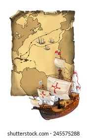 Map with the path navigation Christopher Columbus and his ship Santa Maria