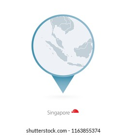 Map pin with detailed map of Singapore and neighboring countries. Raster copy.