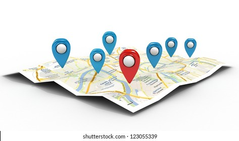 map with Pin Pointers 3d rendering image