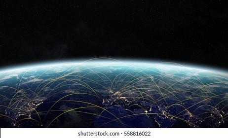 Map of plane journey between countries of the world in space 3D rendering elements of this image furnished by NASA