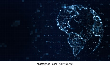 Map of the planet. World map. Global social network. Future. Blue futuristic background with planet Earth. 3d illustration.
