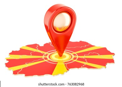 Map pointer on the map of Macedonia, 3D rendering isolated on white background