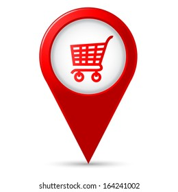 Map pointer with shopping icon