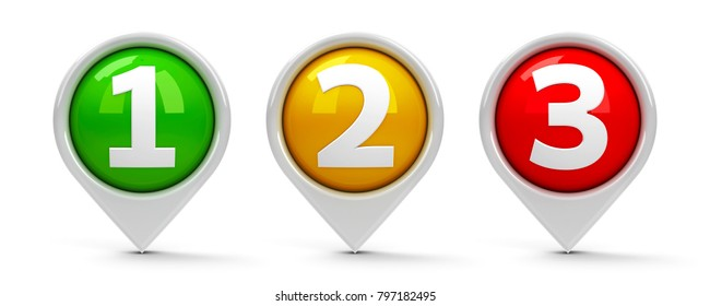 Map pointers with numbers 1, 2, 3 (one, two, three) isolated on white background, three-dimensional rendering, 3D illustration
