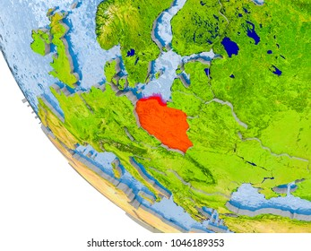 Map of Poland in red on globe with real planet surface, embossed countries with visible country borders and water in the oceans. 3D illustration. Elements of this image furnished by NASA.