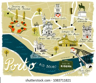 Map of Porto, Portugal, with icons of main sights for tourists. Illustration.