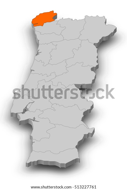 Map Portugal Viana Do Castelo 3dillustration Stock Illustration