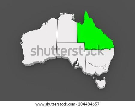Map Queensland Australia.Map Queensland Australia 3 D Stock Illustration 204484657 Shutterstock