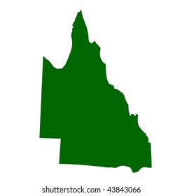 Map of Queensland state in Australia, isolated on white background.