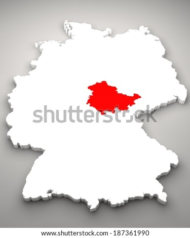 Map Of Germany Divided.Map Region Germany Thuringia Political Map Stock Illustration