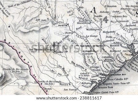 Map Of Texas During The Alamo.Map Republic Texas Countries Adjacent Detail Stock Illustration