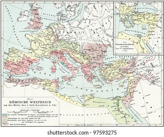 "Map of the Roman Empire, 2nd century AD. Publication of the book ""Meyers Konversations-Lexikon"", Volume 7, Leipzig, Germany, 1910"