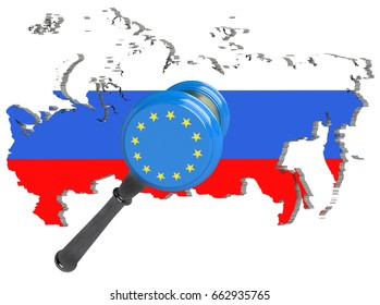 Map of Russia. European Union sanctions against Russia. Judge hammer European Union, flag and emblem. 3d illustration. Isolated on white background.