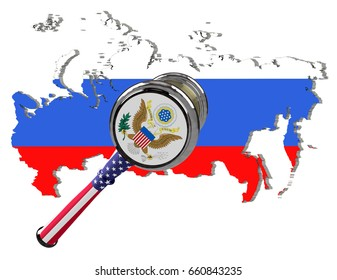 Map of Russia. United States sanctions against to Russia. Judge hammer United States of America, flag and emblem. 3d illustration. Isolated on white background.