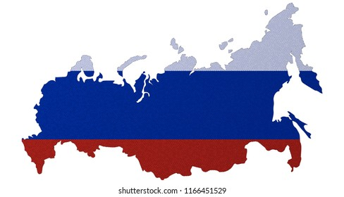 Map of Russian Federation with national flag isolated on white background. 3D render.