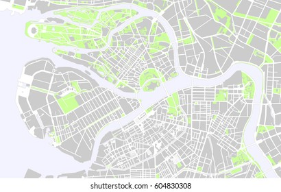 Map of Saint Petersburg black and white
