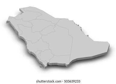 Map - Saudi Arabia - 3D-Illustration