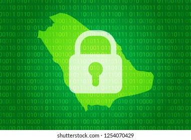 Map of Saudi Arabia.  illustration with lock and binary code background. internet blocking,virus attack, privacy protect