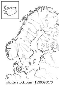 Map of The SCANDINAVIAN Lands: Scandinavia, Sweden, Norway, Finland, Lapland, Karelia, Baltia, Denmark & Iceland [insert]. Geographic chart with Scandinavian peninsula, sea coastline and islands.