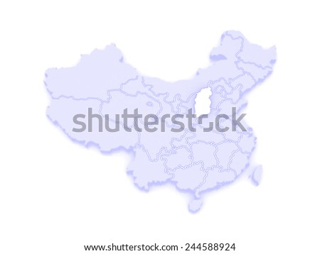 Shanxi China Map.Map Shanxi China 3 D Stock Illustration Royalty Free Stock