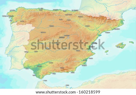 Labeled Map Of Spain.Map Showing Topography Spain Largest Towns Stock Illustration