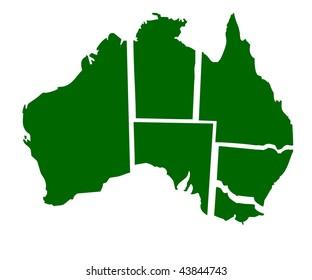 Map of six states of Australia, isolated on white background.