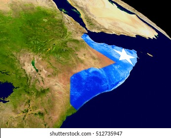 Map of Somalia with embedded flag on planet surface. 3D illustration. Elements of this image furnished by NASA.