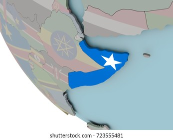 Map of Somalia on political globe with embedded flags. 3D illustration.