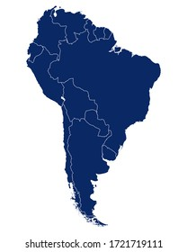 Map of South America with borders