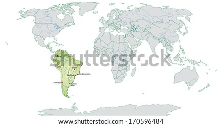 Map South America Main Cities Pastel Stock Illustration 170596484 ...