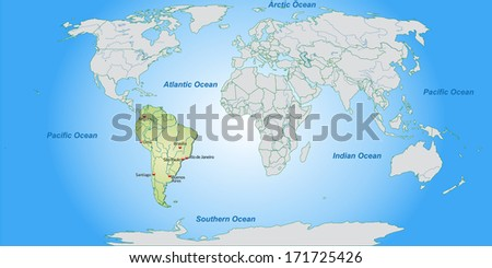 Map South America Main Cities Pastel Stockillustration 171725426 ...