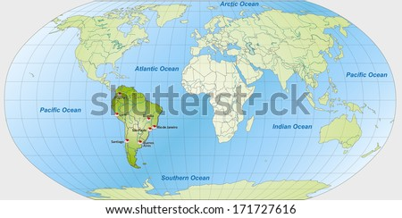 Royalty Free Stock Illustration of Map South America Main Cities ...